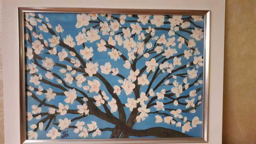 "Olga Gorshkova. ""Flowering branch of almond on a blue background"" - photo 1"