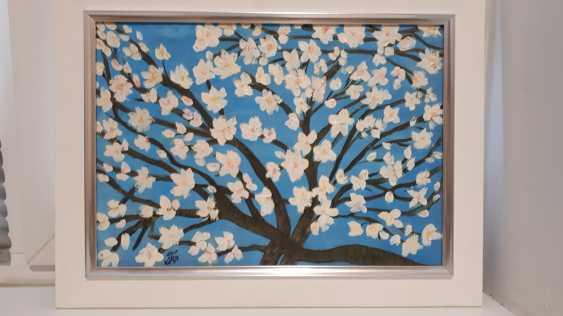 "Olga Gorshkova. ""Flowering branch of almond on a blue background"" - photo 2"