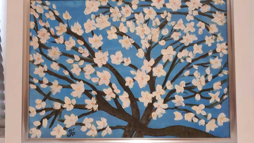 "Olga Gorshkova. ""Flowering branch of almond on a blue background"" - photo 3"