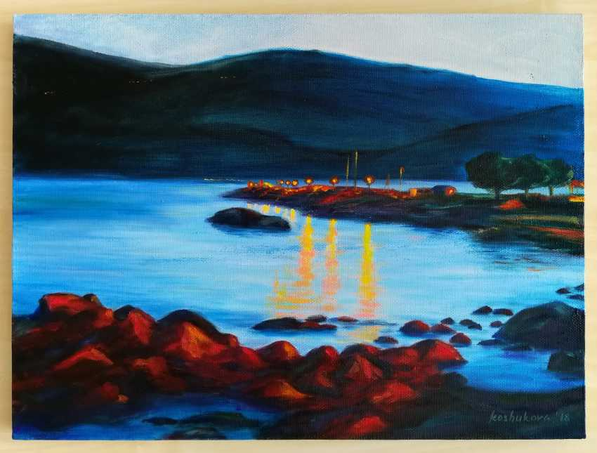 Ekaterina Koshukova. Evening on the beach in Herceg-Novi, Montenegro. The evening on Herceg-Novi beach, Montenegro - photo 1