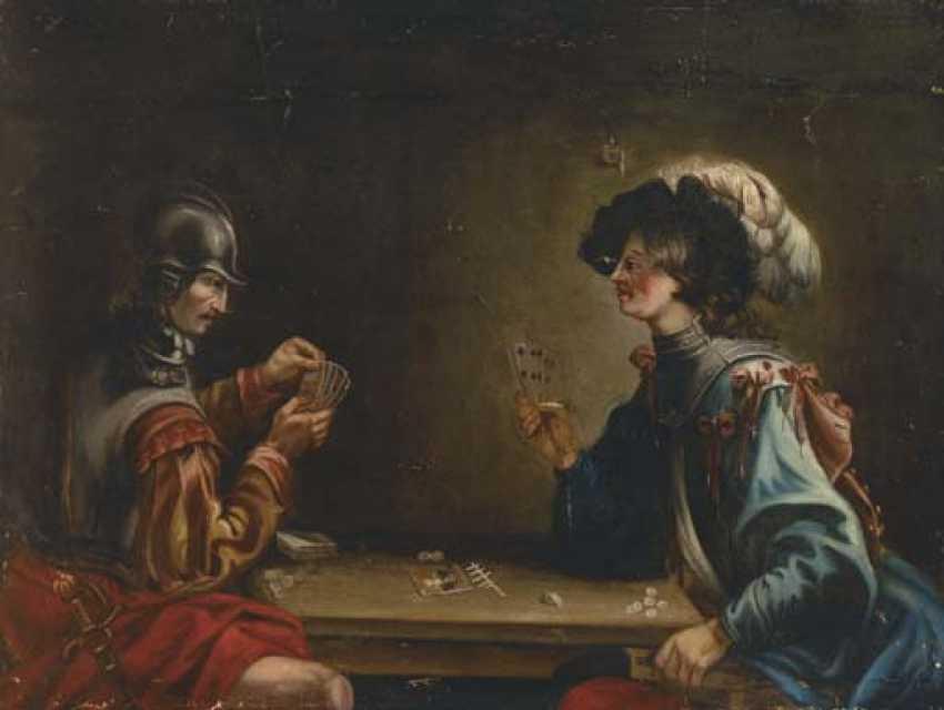"""JACQUES VALENTIN DU БОЛОНИ """"GARDISTEN, IN DIE KARTEN SPIELEN"""" - Foto 1"""