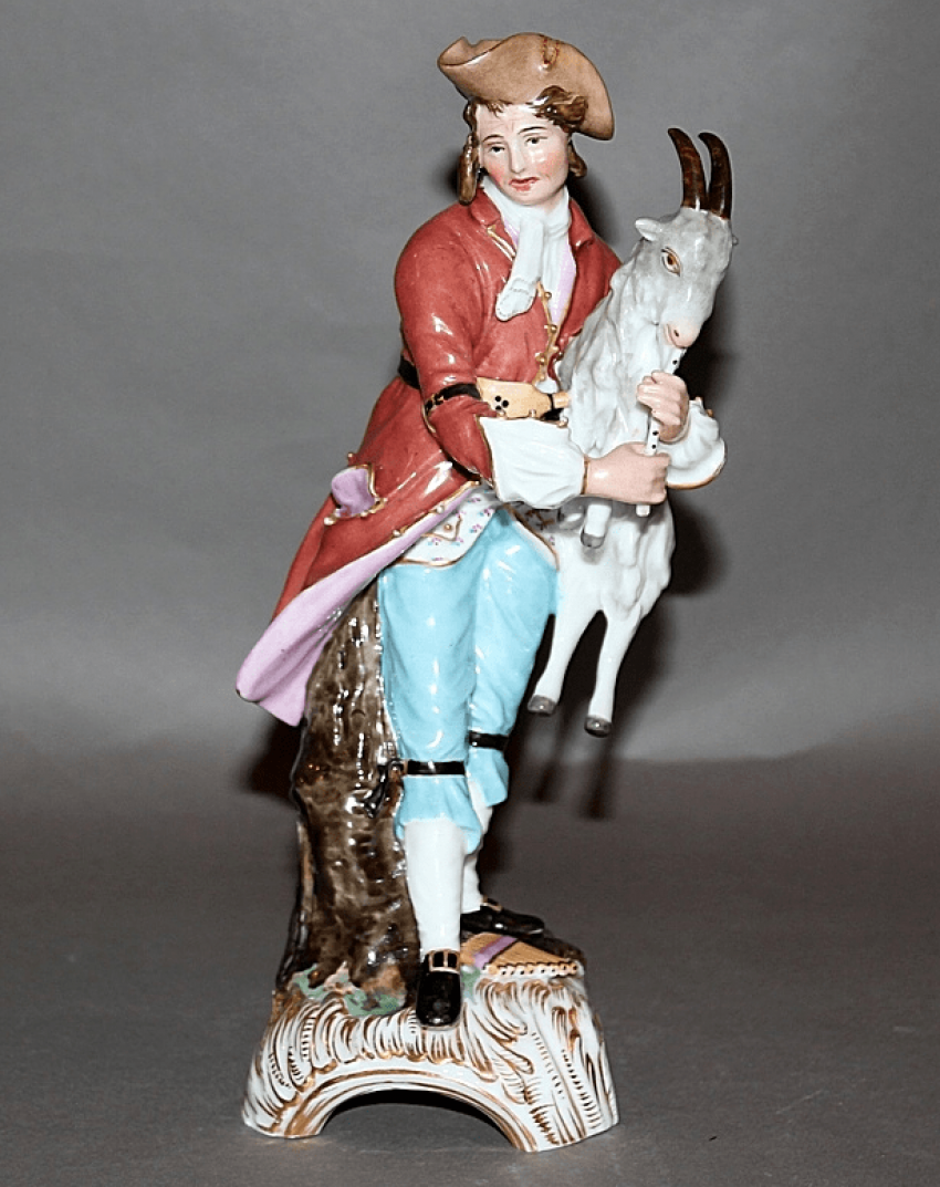 "Figurine ""Boy with goat""factory of A. Popov, porcelain, - photo 1"