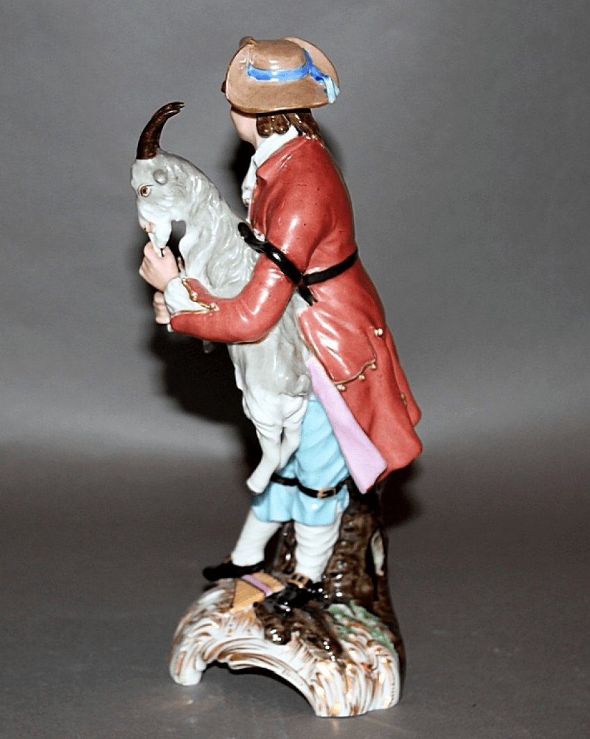 "Figurine ""Boy with goat""factory of A. Popov, porcelain, - photo 2"
