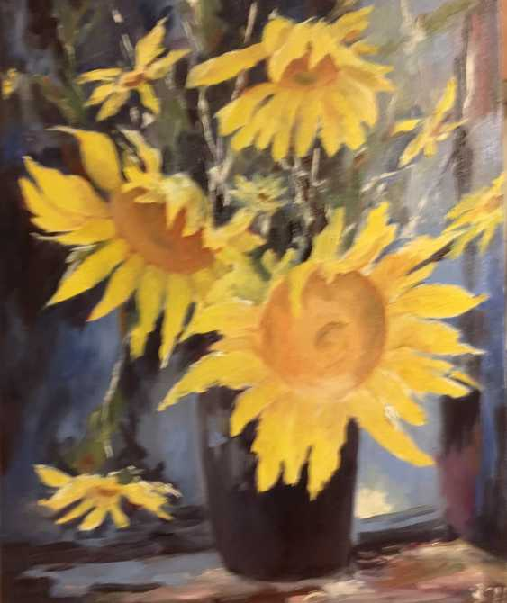 "Viktoriia Viktoriia. ""Sunflowers in the moonlight"" - photo 1"