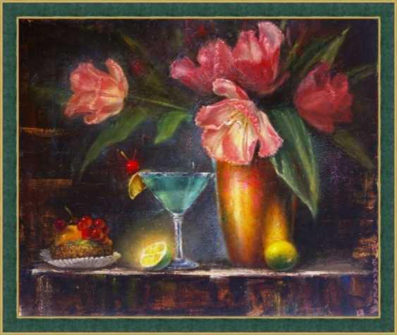 Nataliia Bahatska. Still life with tulips and cake. - photo 4