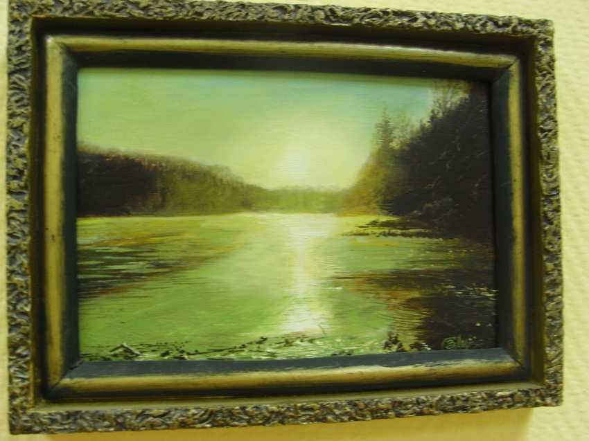 "Sergei Zabelin. The painting ""Sunset over lake"" - photo 1"