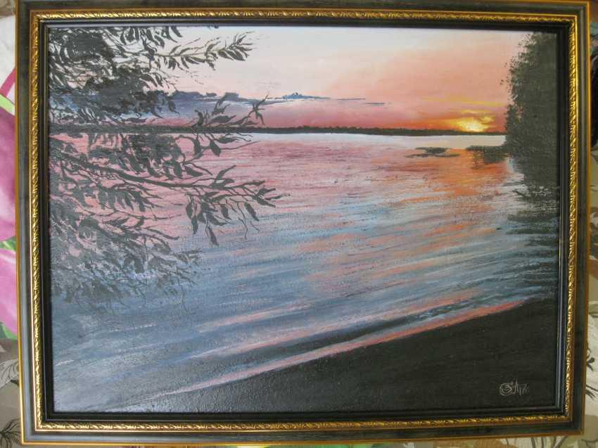 "Sergei Zabelin. The painting ""a Beautiful sunset over the lake"" - photo 1"