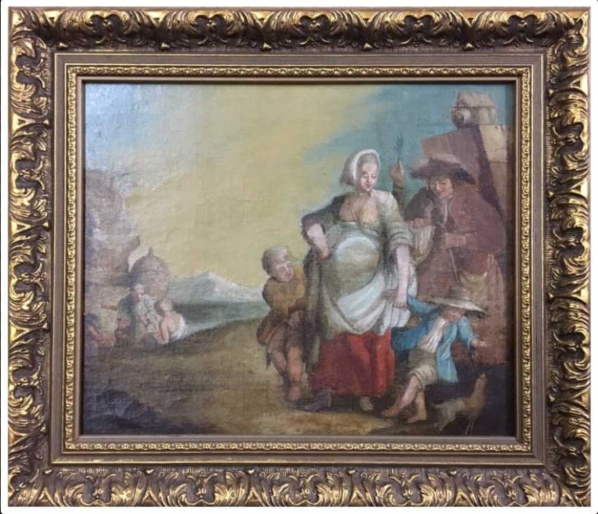 "The painting ""Family scene"", XIX century - photo 1"