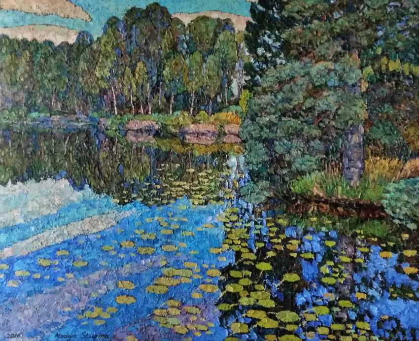 Nadezda Stupina. Lake with water lililes_2016_100x120_oil_canvas - photo 1