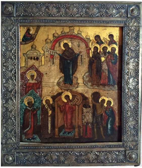 "Icon ""Intercession Of The Theotokos"". Moscow, XIX century. - photo 1"