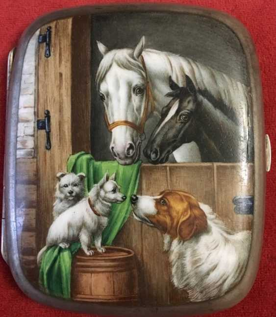 Cigarette case 19th century 800; enamel - photo 1