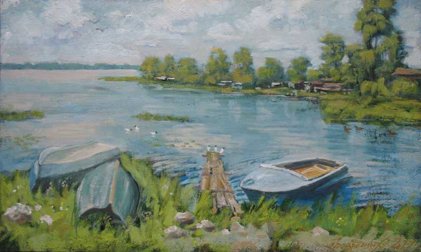 Alexander Bezrodnykh. Boats on берегу30х50см - photo 1
