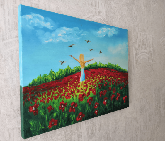 Ludmila Riabkova. Little Girl Art Color field painting Pigeon painting Blue sky horizons floral field red flower painting - photo 2