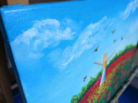 Ludmila Riabkova. Little Girl Art Color field painting Pigeon painting Blue sky horizons floral field red flower painting - photo 3