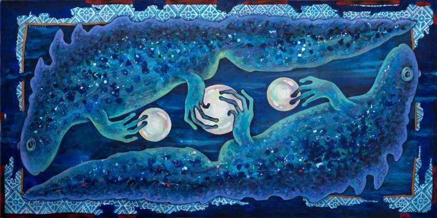 """Sviatlana Vetrava. """"Trois joyaux tritons"""" (le Bleu) Peinture vendu. Possibilité de photocopier. - photo 1"""
