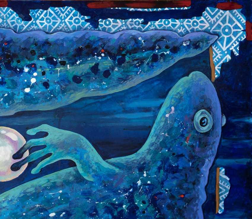 """Sviatlana Vetrava. """"Trois joyaux tritons"""" (le Bleu) Peinture vendu. Possibilité de photocopier. - photo 2"""