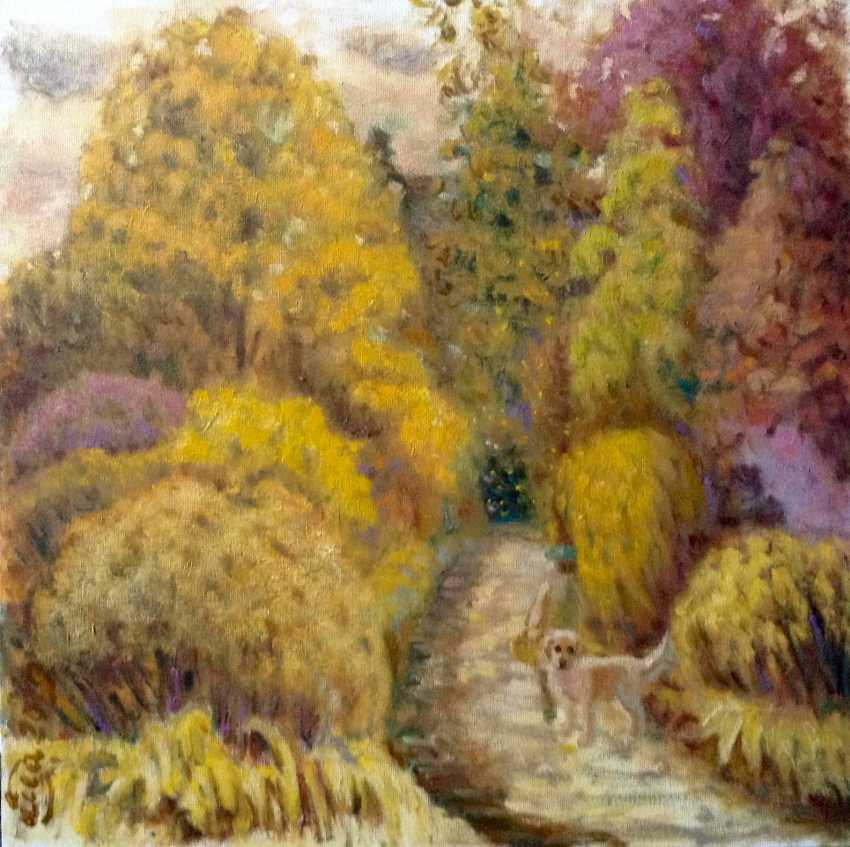 Alla Senatorova. Autumn landscape with a Labrador. - photo 1