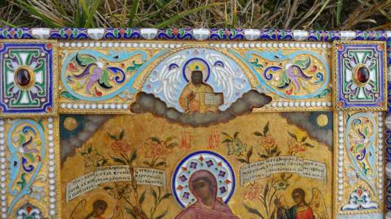 "The icon ""Joy of All who sorrow"" in a precious oklad with enamel - photo 4"