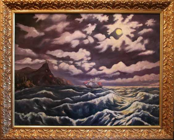 Alexander Elizare. Night surf on a moonlit night in the Black sea - photo 1