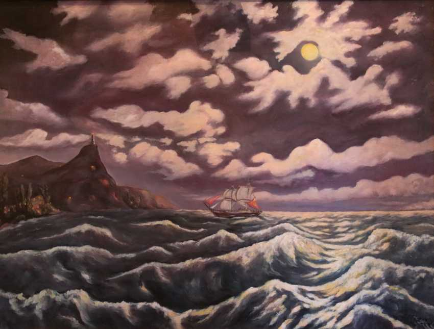 Alexander Elizare. Night surf on a moonlit night in the Black sea - photo 3