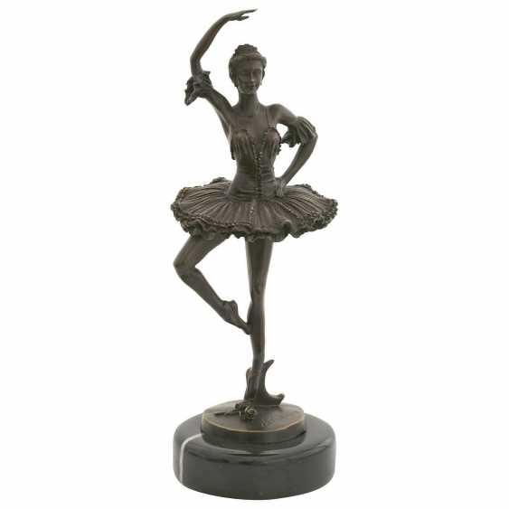 Lukas Erzroll. Ballerina bronze sculpture of a dancing woman on marble base. - photo 1