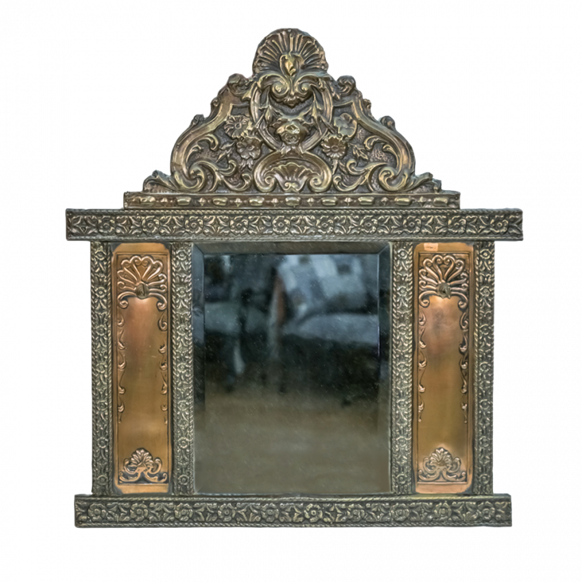 Mirror for hallway with brushes in a carved frame made of brass the first half of the twentieth century - photo 1