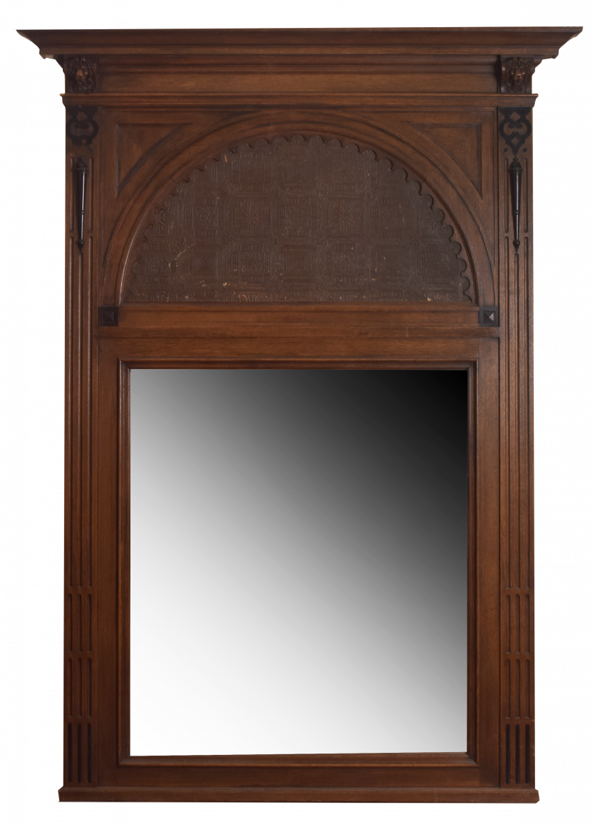 Antique mirror inlaid with leather of the late nineteenth century - photo 1