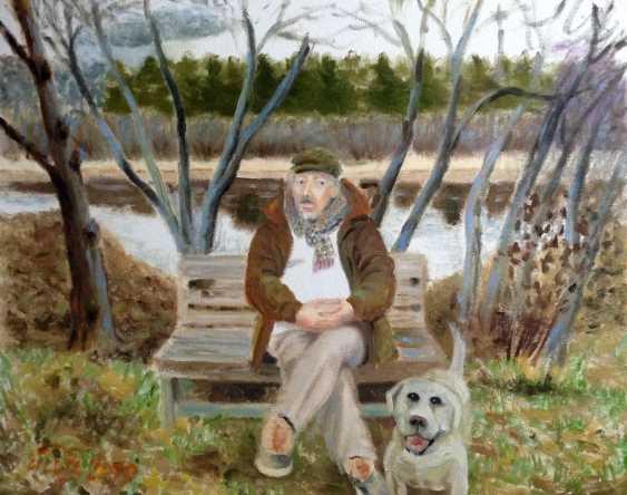 "Alla Senatorova. ""The artist Dima Vakurov and Labrador Sherlock."" - photo 1"