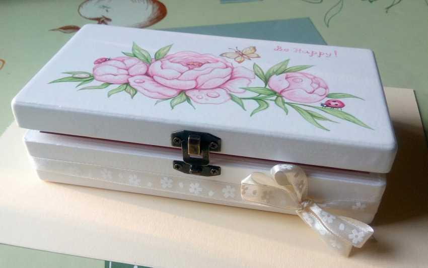 "Irina Nevshupa. The box with the painting ""Peonies"" - photo 2"