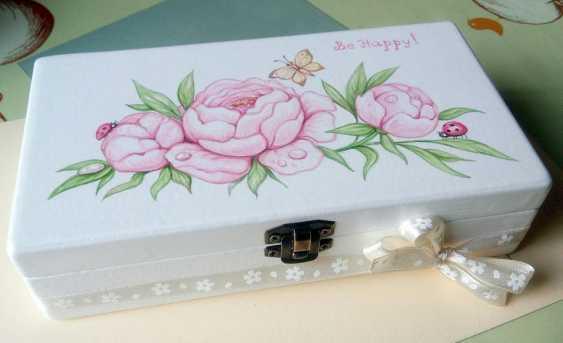 "Irina Nevshupa. The box with the painting ""Peonies"" - photo 4"