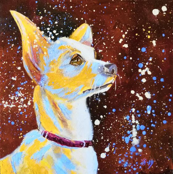 Ludmila Riabkova. Unique pet portrait Puppy portrait Pet portrait canvas Puppy painting Dog artwork Сute dog - photo 1
