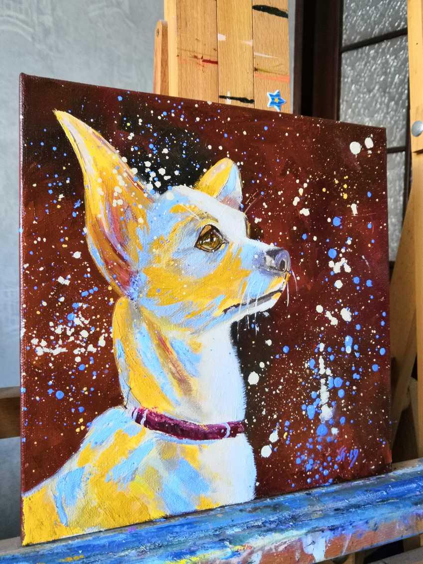 Ludmila Riabkova. Unique pet portrait Puppy portrait Pet portrait canvas Puppy painting Dog artwork Сute dog - photo 2