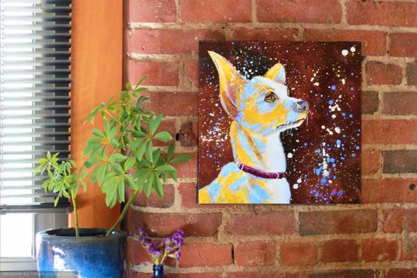 Ludmila Riabkova. Unique pet portrait Puppy portrait Pet portrait canvas Puppy painting Dog artwork Сute dog - photo 4