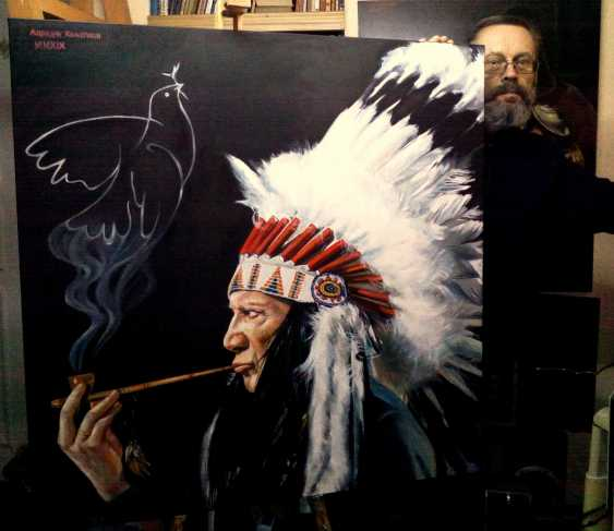 Andrew Khalturin. Picasso in the image of the Indian chief comes up with your main symbol-dove of Peace - photo 2