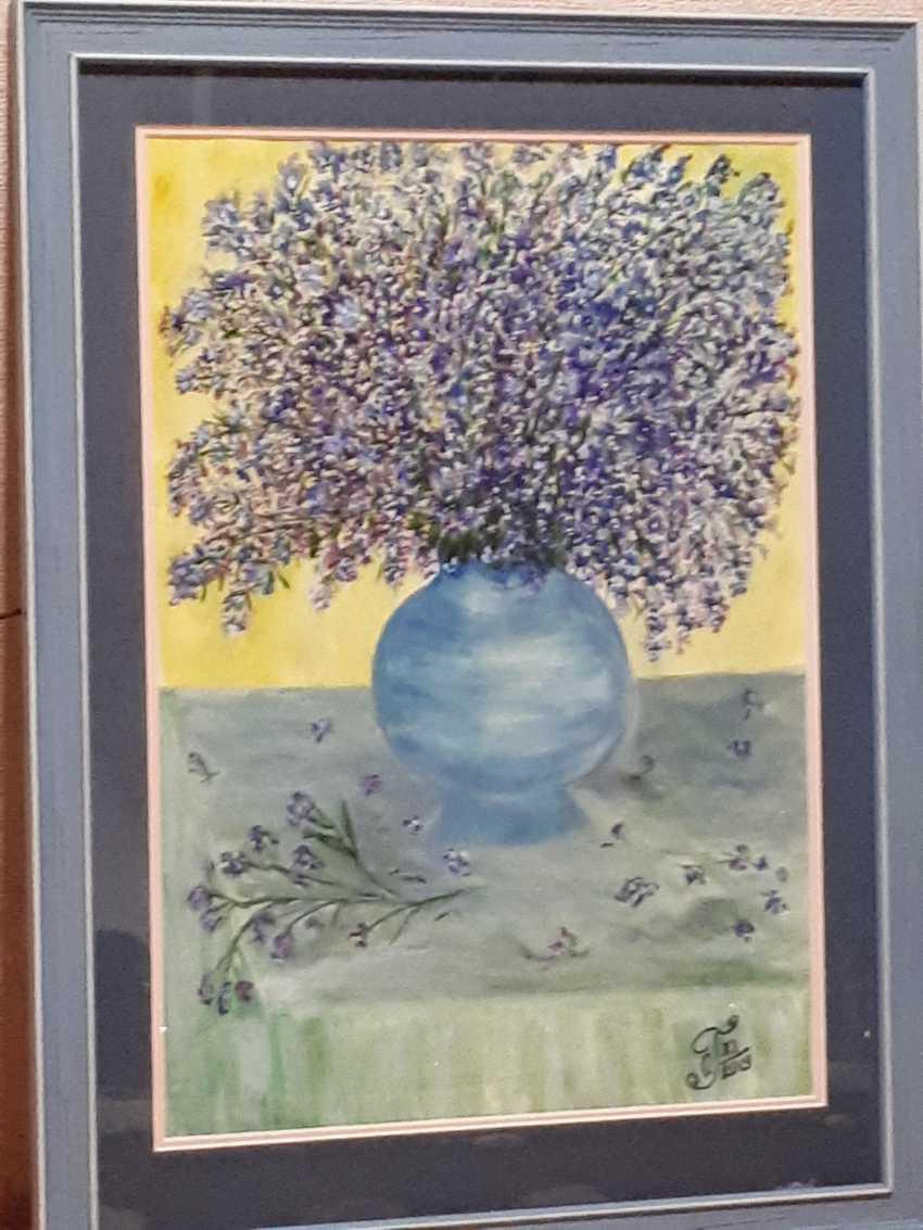 "Olga Gorshkova. ""Flowers in blue vase"" (mountain lavender) - photo 1"