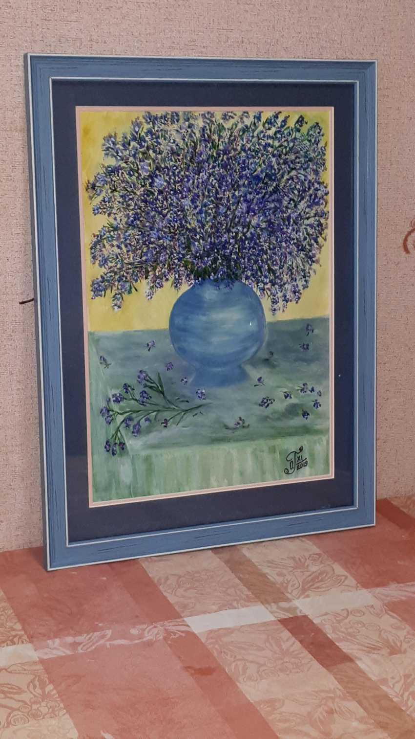 "Olga Gorshkova. ""Flowers in blue vase"" (mountain lavender) - photo 4"