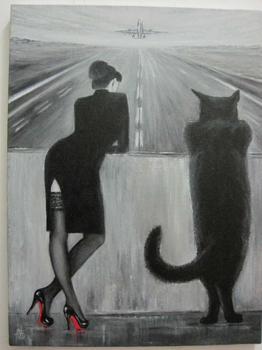 "Alexandra Berezovenko. ""Margarita and Behemoth"" spatula + brush, the technique of grisaille oil/C, 60 x 45, 2018(03) - photo 1"