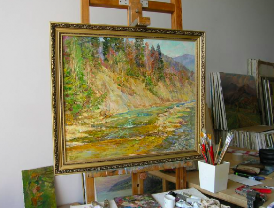 Aleksandr Dubrovskyy. Mountain river Painting by Aleksandr Dubrovskyy - photo 2