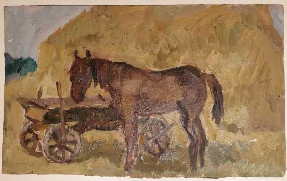 Olena Balykova. The horse near the cart. - photo 1