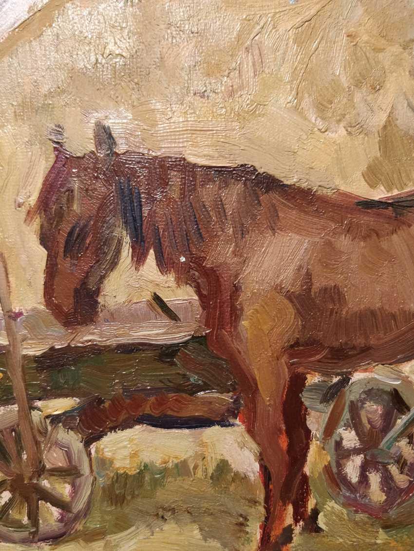 Olena Balykova. The horse near the cart. - photo 2