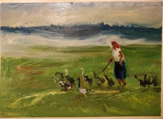 Olena Balykova. Old woman and geese - photo 1
