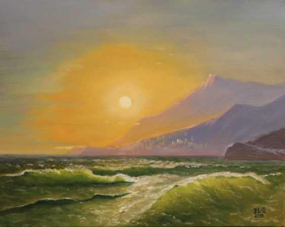"Jelena Lebedeva-Dvorecka. Motivated by I. K. Aivazovsky, ""Landscape, with views of Monaco."" - photo 3"