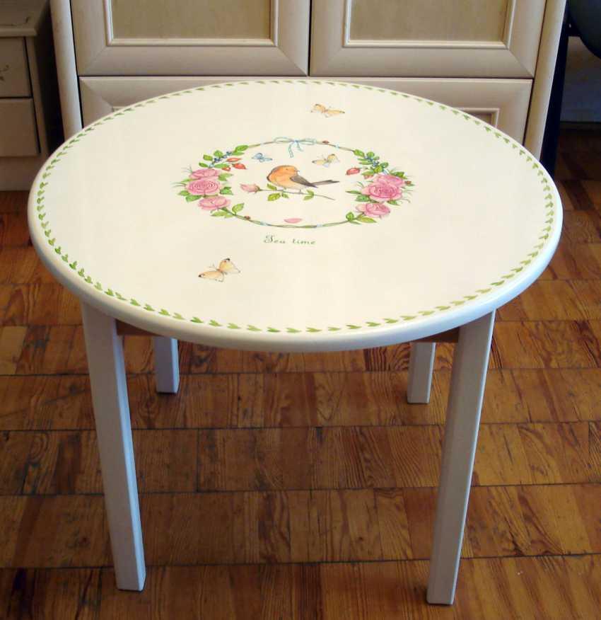 Irina Nevshupa. Coffee table with painting (solid alder) - photo 2