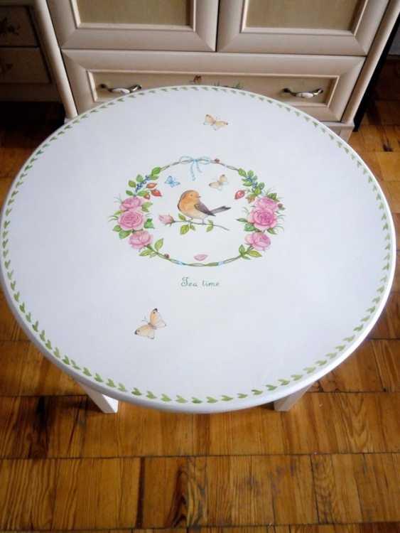 Irina Nevshupa. Coffee table with painting (solid alder) - photo 4