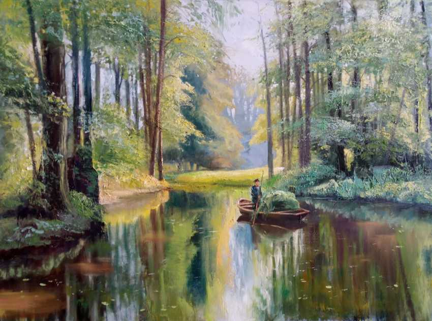 Elena Shipunova. Backwater boat on the river Summer day. - photo 1