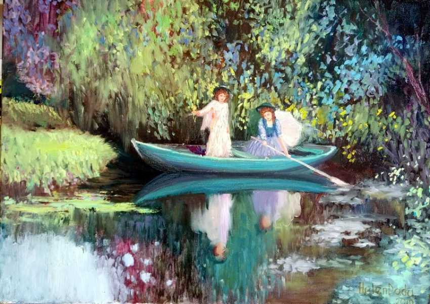Elena Shipunova. Girls in the boat. Summer day. - photo 1