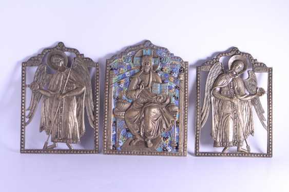 Russian icon of Jesus Christ Archangel Michael Gabriel triptych Deesis bronze enamel. - photo 1