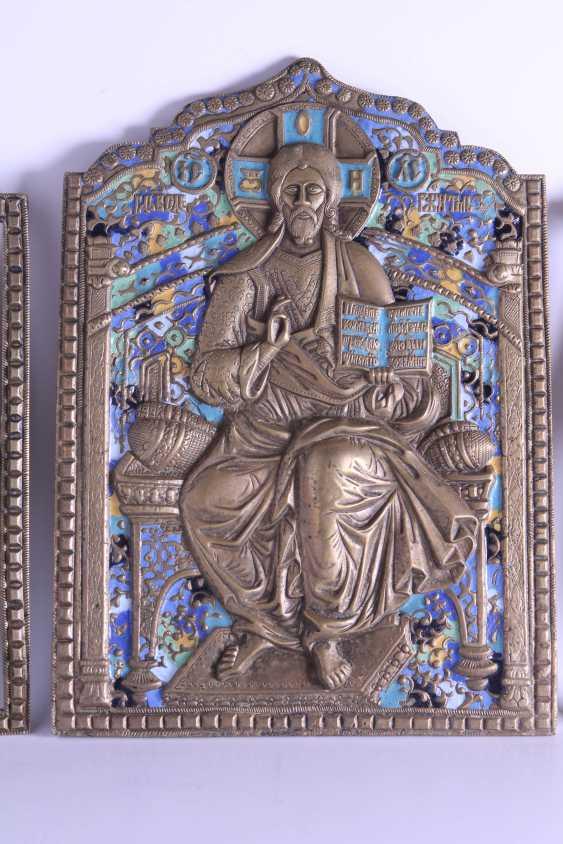 Russian icon of Jesus Christ Archangel Michael Gabriel triptych Deesis bronze enamel. - photo 3