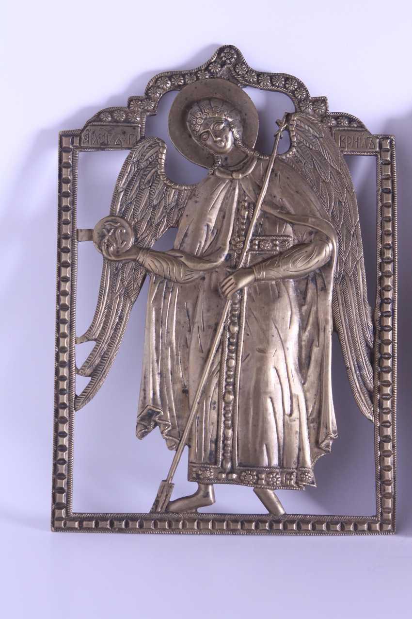 Russian icon of Jesus Christ Archangel Michael Gabriel triptych Deesis bronze enamel. - photo 4