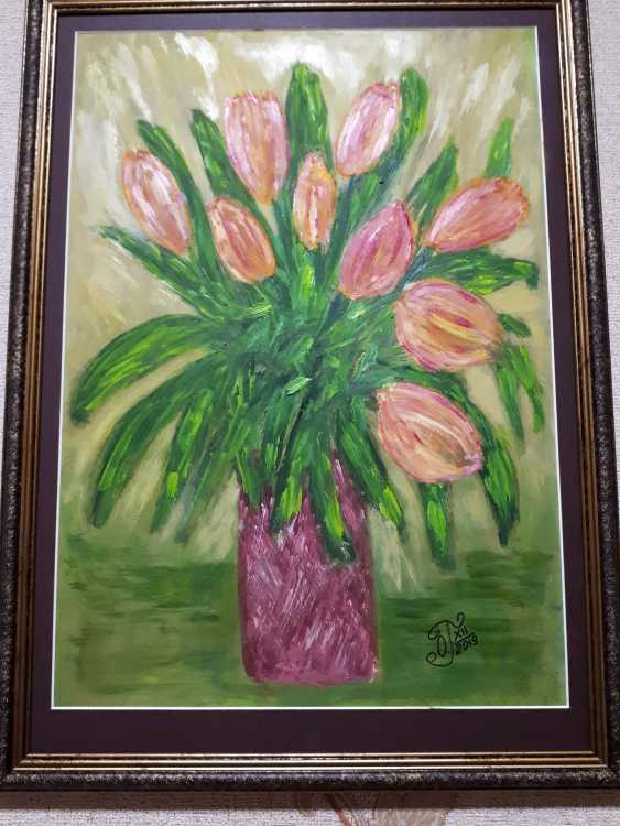 "Olga Gorshkova. ""Tulips in a vase""(2) - photo 1"